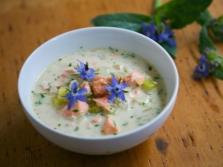 Вкусный суп-пюре с огуречной травой