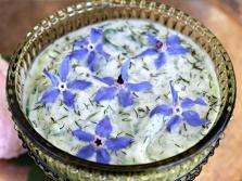 Цветки огуречной травы в йогурте