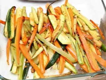 Овощи для гарнира к семге с орехами пинии
