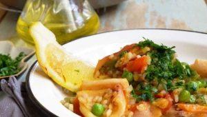 Приготовление кальмаров с овощами