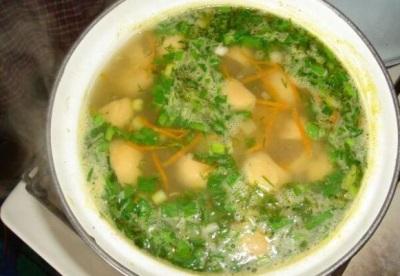 Суп с грибами дождевиками