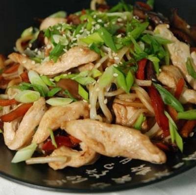 Грибы Шиитаке жареные с овощами